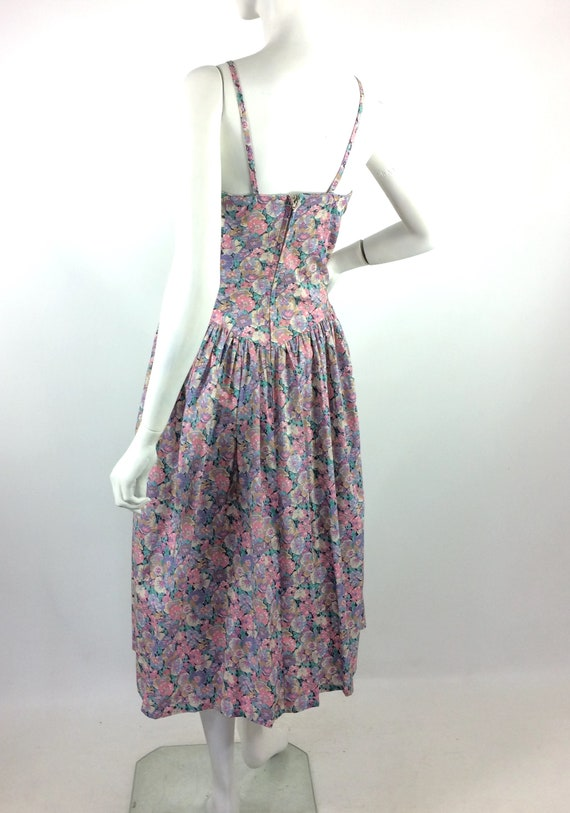 LIBERTY 80s vintage cotton tea dress / pansies / … - image 9