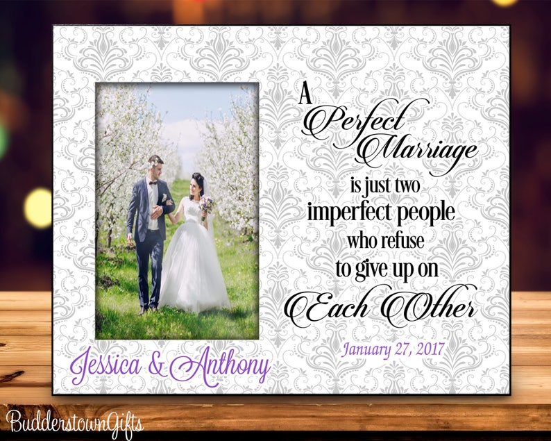 A Perfect Marriage Wedding Frame Personalized Wedding Gift Etsy