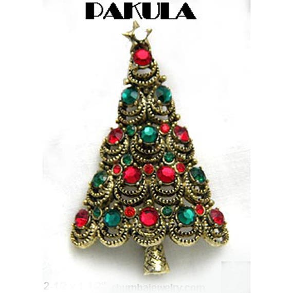 Clear and Green Rhinestone Ornaments Gold Star Topper Sparkling Vintage Gold Tone Christmas Tree Brooch With Red /& Red Rhinestone Bow