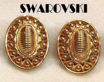 Swarovski Swan Signed Clip Earrings Gold Tone