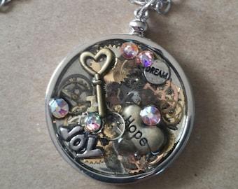 Time For Hope, Joy, n Dream Pocket Watch Pendant