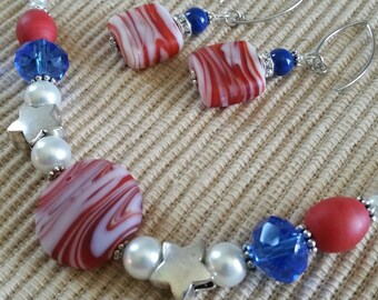 Patriotic Swirls Necklace n Earring Set