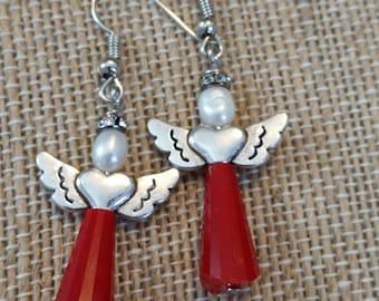 Crystal Red Angel Earrings