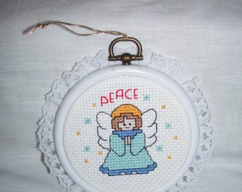 Peace Angel Cross Stitch Framed Ornament Wall Hanging