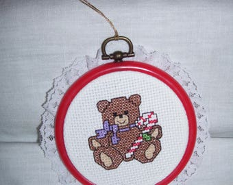 Teddy Bear Holding Candy Cane Cross Stitch Framed Ornament Wall Hanging