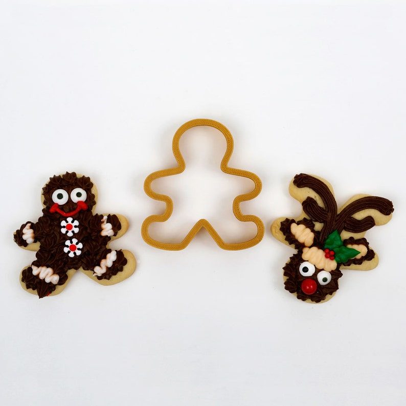 Gingerbread Man Reindeer Cookie Cutter 4 Cutter Set