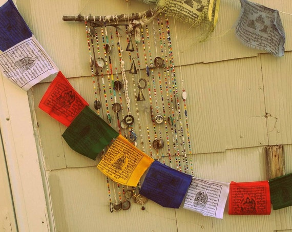 "Tibetan Prayer Flags // 5 Feet Length // Flags Measures 5"" x 5"" each // 10 Prayer Flags Per String // Made in Nepal // Spiritual Decor"