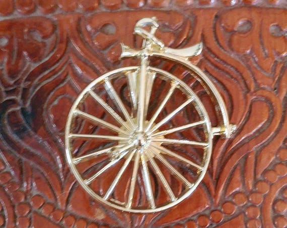 Vintage Penny-Farthing Bike Brooch // Vintage Antique Bike Brooch // Gold Toned