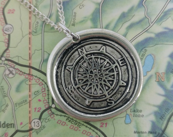 Compass Coin Pendant Necklace // World Traveler Necklace // Compass Pendant Necklace // 18in 20in 24in Chain //