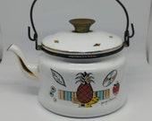 Vintage Georges Buard Tea Pot Enamel Strawberry Pineapple Georges Buard 1950s Mid Century Tea Pot