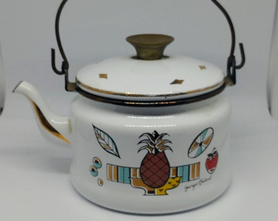Vintage Georges Briard Tea Kettle // Enamel // Strawberry // Pineapple // Georges Buard // 1950s // Mid Century Tea Pot //