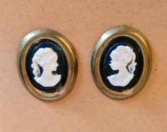 Vintage Cameo Earrings // Post Backs //