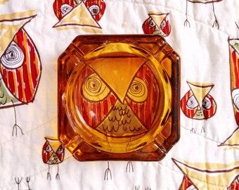 Vintage Amber Glass Square Ashtray / Trinket Dish / Barware /