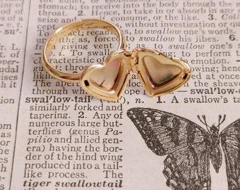 24 K Gold Plated Heart Locket Ring / Adjustable Size / Dainty Keepsake /