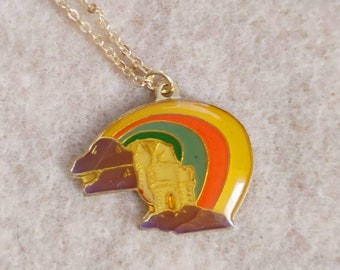 """Rainbow Castle Charm Necklace // 18"""" 24K Gold Dipped Chain //"""