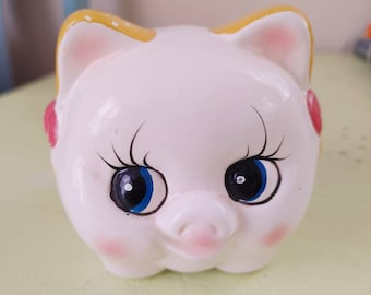 Vintage Piggy Bank / Hand Painted / Plastic Cork / Great Condition / Gift /