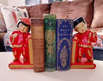 Vintage Chinese Couple Bookends / Ceramic / Vivid Colors / Retro Bookends