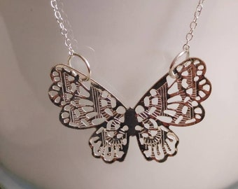 """Butterfly Charm Necklace // 18"""" Silver Plated Necklace //"""