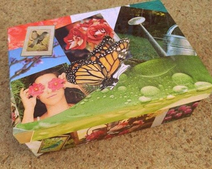 """Featured listing image: Butterfly Trinket Box // 3-D Decoupage // 8""""L x 5.5""""W x 3""""H // Real Pressed Violas // Modge Podge // One-of-a-kind"""