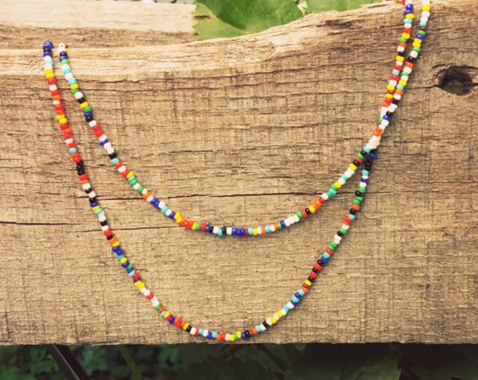 Featured listing image: Seed Bead Necklace // Necklace // Choker // Anklet // Multi-Colored Necklace // Boho // Festival Wear // Single Strand //