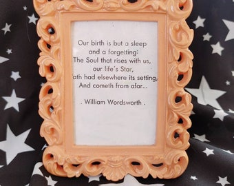 Pink Photo Frame With William Wordsworth Quote / Quote in Frame / Small Decor /
