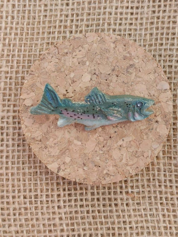 Vintage 90s Lapel Pins // Rainbow Trout // Sparkle Roller Skate // Great Condition // FREE SHIPPING //