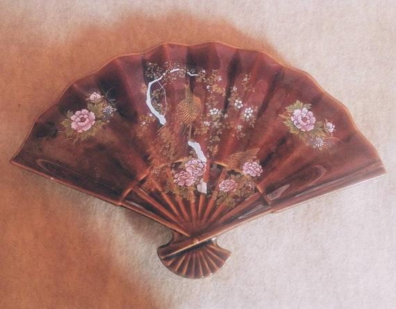 Vintage Japanese Ceramic Fan Trinket Dish With Peacock // Maroon //