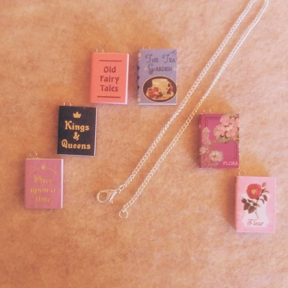 Miniature Book Necklace // Fairy Tale Books // Garden Books //