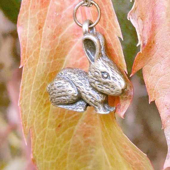 "Woodland Forest Charm Necklace // 18"" Brass Chain // Brass Rabbit Charm //"