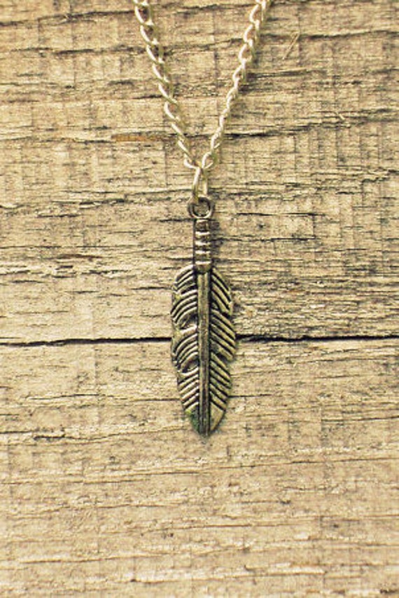 "Silver Feather Charm 1.18"" (30mm) // 18"" Nickle Free Silver Chain With Lobster Clasp Closure"