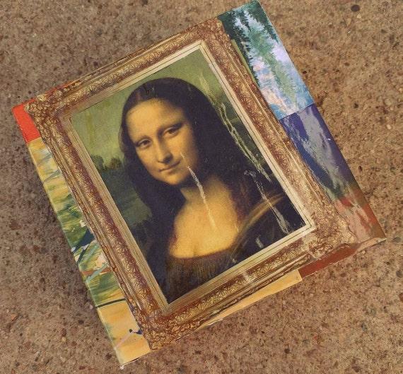 "Mona Lisa Trinket Box // 3-D Decoupage // 5""L x 5""W x 2.5""H // Artwork // Modge Podge // One-of-a-kind"