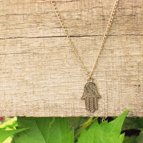 """Silver Hamsa Charm Necklace // 18"""" Nickel Free Silver Chain With Lobster Clasp Closure"""
