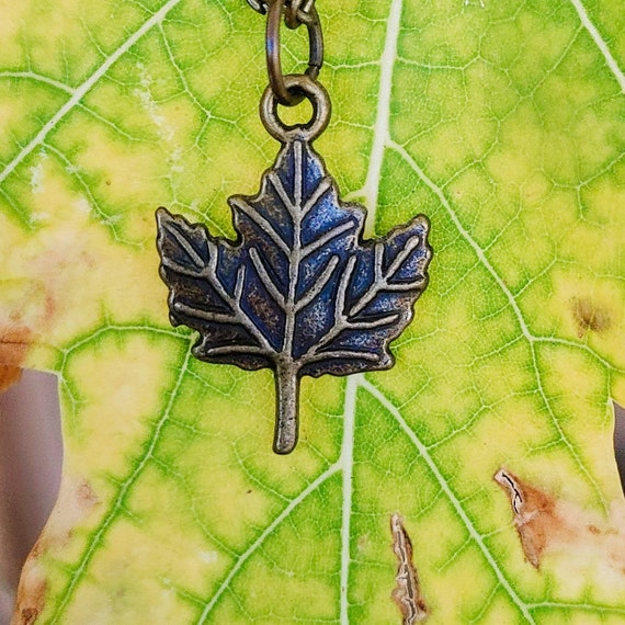 "Woodland Forest Charm Necklace // 18"" Brass Chain // Brass Maple Leaf Charm //"