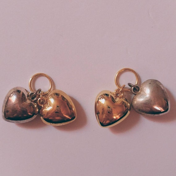 """Vintage 90s Heart Charms // Plastic Gold and Silver // Large Sized // Each Heart is About 1"""" in Size //"""