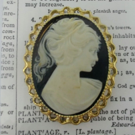 Vintage Blue and Ivory Cameo // Lapel Pin // Great Condition // Plastic // Ivory Color // Blue Color //