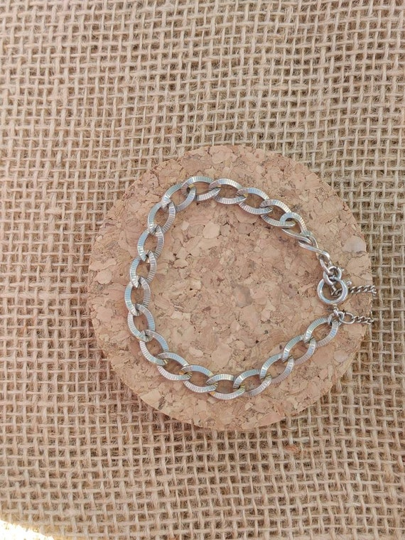 Vintage Silver Chain Link Bracelet // Clasps Open // Tarnished Needs Cleaning //