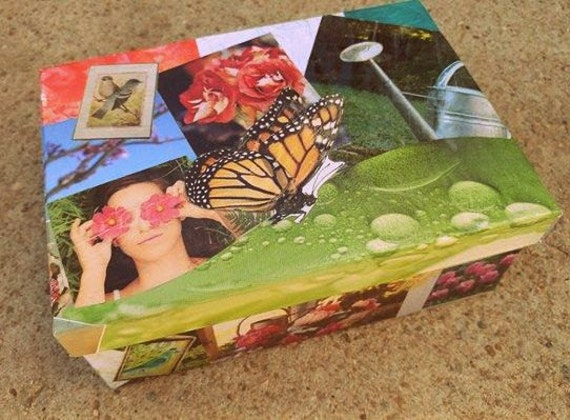 "Butterfly Trinket Box // 3-D Decoupage // 8""L x 5.5""W x 3""H // Real Pressed Violas // Modge Podge // One-of-a-kind"