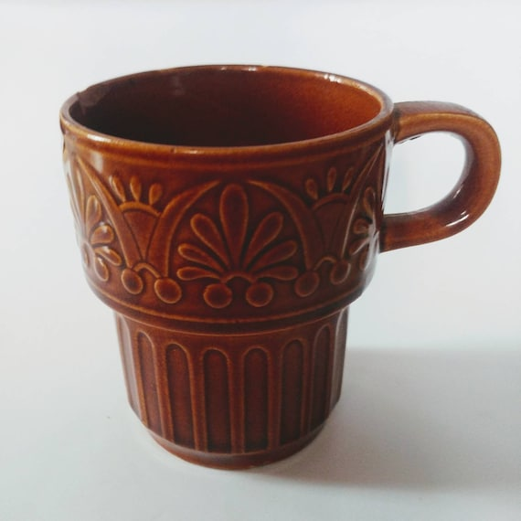 Vintage Stackable Brown Coffee Mug // Midcentury Mugs // Fair Condition // FREE SHIPPING //