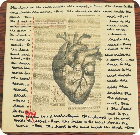 "Heart Mixed Media on 12""X12"" Canvas // Includes Rumi Quote + Anatomical Heart Printed on Vintage Dictionary ""Heart"" Sheet + Red Embroidery"
