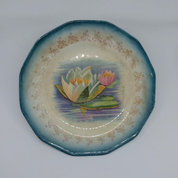 Sterling Crown Blue Lotus China Collectors Plate // Wall Plate // Trinket Dish // 1910 //
