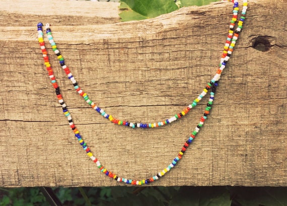 Seed Bead Necklace // Necklace // Choker // Anklet // Multi-Colored Necklace // Boho // Festival Wear // Single Strand //