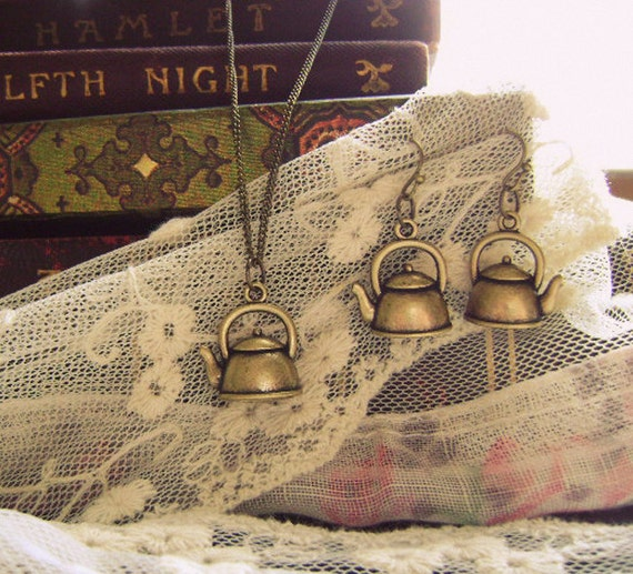 "Teapot Necklace & Earring Set // Antique Brass Finish 18"" Chain // Earrings Can Be Sold Separately //"