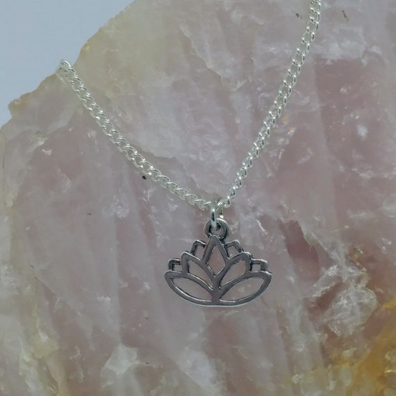 Lotus Charm Necklace // 18in Silver Plated Chain // Petite Charm // Lotus //