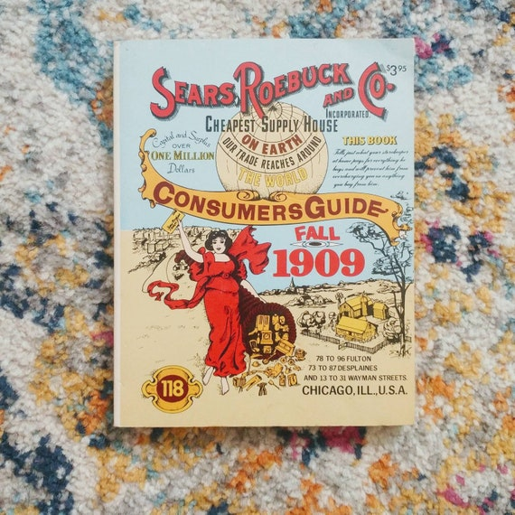 FREE SHIPPING Vintage Reprint Sears Roebuck and Co. Consumers Guide Fall 1909 // Ventura Books, Inc // 1979 // Used/Good