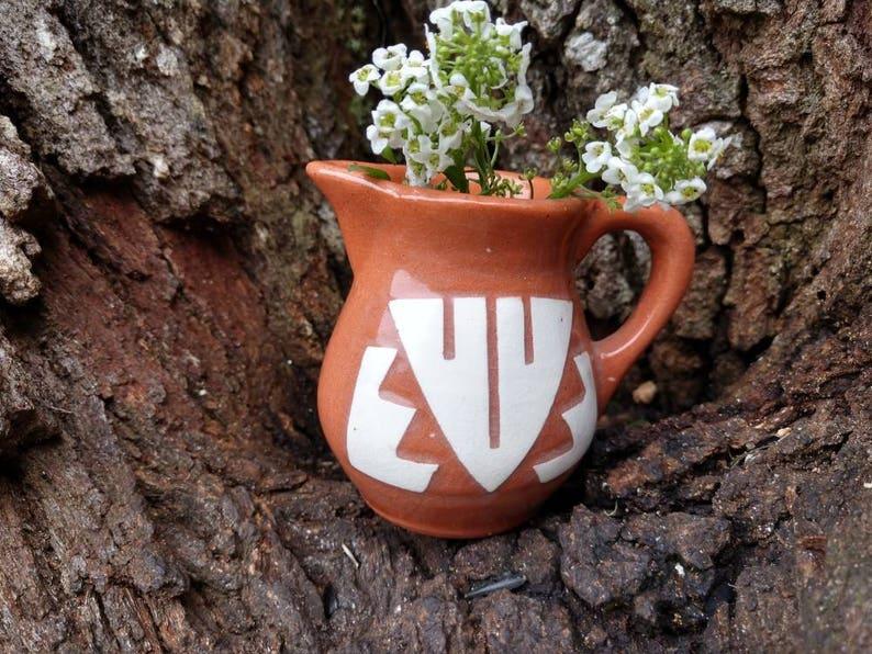 Vintage South Dakota Sioux Mary Blacktail Deer Native miniature Pottery Pitcher