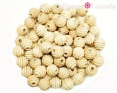 NORTH AMERICAN SOURCED 16mm Natural Wood Beehive Beads, 5 8 quot Wood Beehive Beads, Wooden Beehive Beads, Unfinished Wood Teething Beads