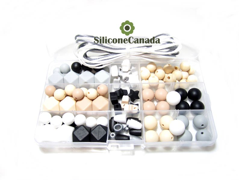 Free Storage Case Included Food Grade Teething Beads Classic DIY Silicone Teething Necklace Kit Perfect Baby Shower Gift