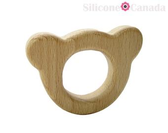 BEAR Natural Wood Pendant.  High-Quality Untreated Wooden Pendant.  BPA Free Pendant. Wooden Pendant Canada. US. Wooden Pendants.