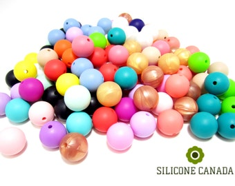 15mm Bulk Lot of 100 Loose Silicone Beads for Silicone Teething Necklace for Baby. Wholesale Bulk Discount Canada Europe US Australia.
