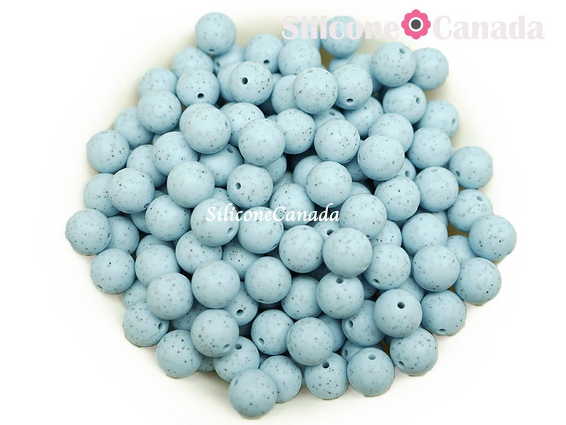 highest quality BPA free silicone craft supplies Canada USA Europe Loose Wholesale Bulk Discount 12mm Speckled Blue Round Silicone Beads